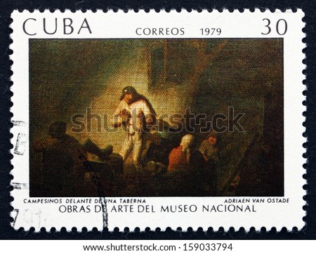 CUBA - CIRCA 1979: a stamp printed in the Cuba shows Peasants in Front of a Tavern, Painting by Adriaen van Ostade, National Museum, circa 1979 - stock photo