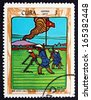 CUBA - CIRCA 1970: a stamp printed in the Cuba shows Plowing Field, circa 1970 - stock photo
