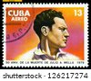 Cuba -CIRCA 1979: A Stamp printed in the Cuba   shows portrait Julio A. Mella. Founder to communist party Cubes. Cuban revolution, Scott 2004 catalog number C315, circa 1979 - stock photo