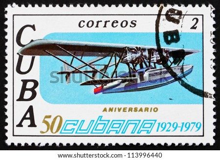 CUBA - CIRCA 1979: a stamp printed in the Cuba shows Sikorsky S-38, 50th Anniversary of Cubana Airlines, circa 1979