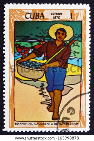 CUBA - CIRCA 1970: a stamp printed in the Cuba shows Vietnamese Fisherman, circa 1970