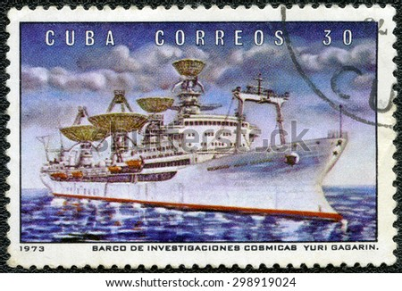 CUBA - CIRCA 1973: A stamp printed in USSR shows Radar observation ship Yuri Gagarin, series Soviet Space Program, circa 1973 - stock photo