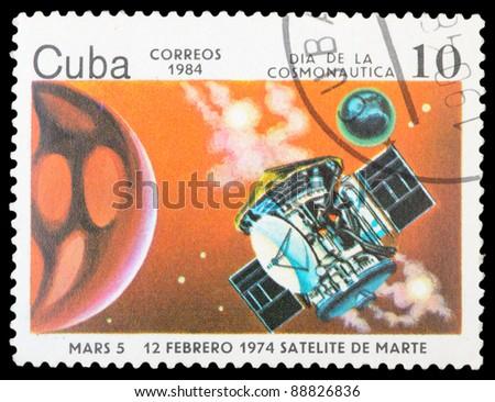 CUBA - CIRCA 1984: An airmail stamp printed in Cuba shows a space ship, series, circa 1984. - stock photo