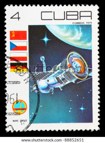 CUBA - CIRCA 1979: An airmail stamp printed in CUBA shows a space ship, series, circa 1979. - stock photo