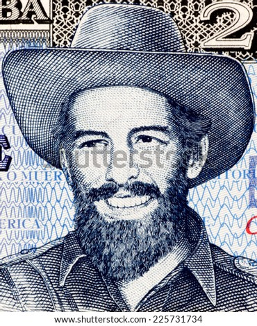 CUBA - CIRCA 2006: Camilo Cienfuegos (1932-1959) on 20 Pesos 2006 Banknote from Cuba. Cuban revolutionary. - stock photo