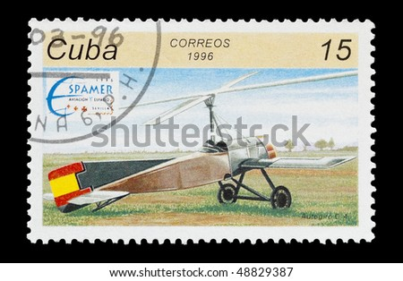 CUBA - CIRCA 1996: mail stamp printed in Cuba featuring a early Autogiro design, circa 1996