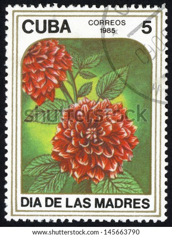 CUBA - CIRCA 1985: post stamp printed in Cuba shows image of dahlias flower from mothers day series, Scott catalog 2791 A763 5c, circa 1985