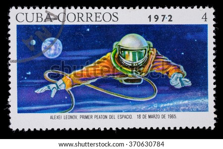 CUBA - CIRCA1972. Postage stamp dedicated  to the first output of the person into space March 18, 1965 - stock photo