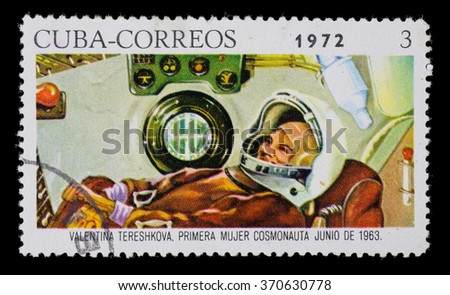 CUBA - CIRCA1972. Postage stamp dedicated to the first woman in space flight - stock photo