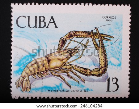 Cuba - circa 1969: Postage stamp printed in Cuba shows a color image underwater creatures cancer long-armed subjects fauna philately - stock photo