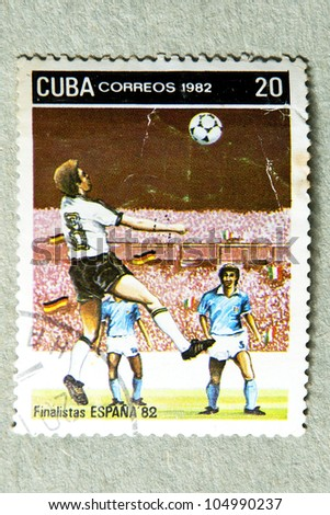 CUBA- CIRCA 1982: stamp printed by CUBA, shows Spanish football finalists in 1982, CIRCA 1982