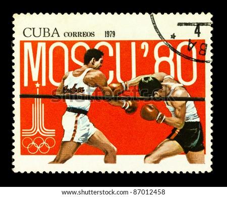 CUBA - CIRCA 1979: stamp printed by Cuba, shows Summer Olympics, Boxing, circa 1979 - stock photo