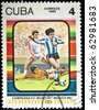 CUBA - CIRCA 1986: stamp printed by Cuba, shows World Cup soccer championships, Mexico City, circa 1986. Series - stock photo