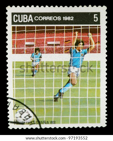 CUBA - CIRCA 1982: stamp printed by Cuba, shows 1982 World Soccer Championship, Spain, circa 1982.
