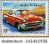 CUBA - CIRCA 2002: stamp printed in Cuba dedicated to retro car, shows Chevrolet 1951, Bel air model, circa 2002 - stock