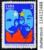 CUBA - CIRCA 1972: Stamp printed in Cuba devoted to Symposium Against Yankee Genocide in Vietnam and its extension to Laos and Cambodia,shows Jose Marti and Ho Chi Minh, circa 1972 - stock photo