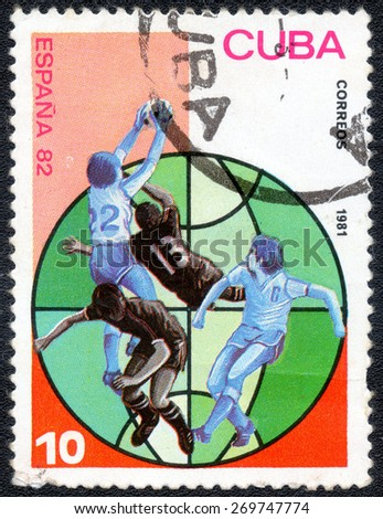 CUBA - CIRCA 1981: Stamp, printed in Cuba showing world championship on football in Spain1982, circa 1981 - stock photo