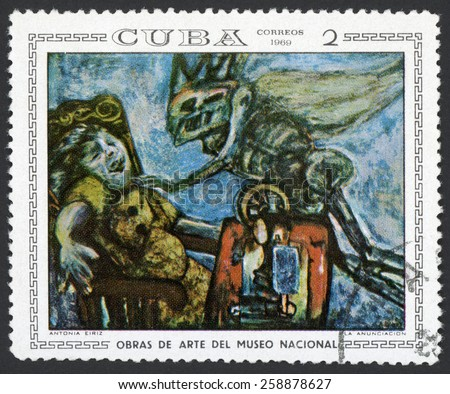 CUBA - CIRCA 1969: stamp printed in Cuba shows annunciation by Antonia Eiriz; skull faced monster attacking terrified seamstress in chair; paintings in national museum; Scott 1405 A381 2c, circa 1969