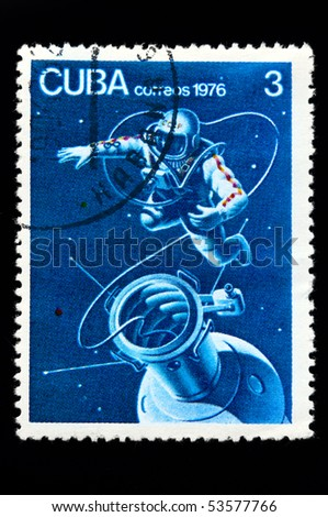 CUBA - CIRCA 1976: stamp printed in Cuba shows of Russian astronaut in Cosmos, circa 1976