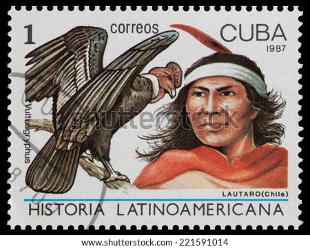 CUBA - CIRCA 1987: The postal stamp printed in CUBA shows lautaro (Chili) and vultur gryphus, circa 1987 - stock photo