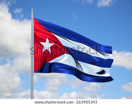 CUBA 3d flag floating in the wind with a blue sky in the background