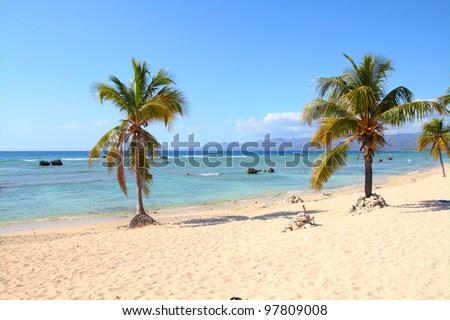Cuba - famous Playa Ancon beach. Caribbean seaside destination. - stock photo