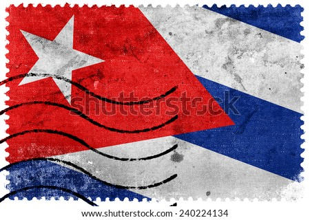 Cuba Flag - old postage stamp - stock photo