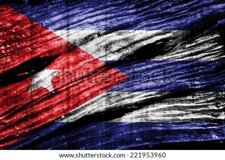 Cuba flag on old wood texture - stock photo