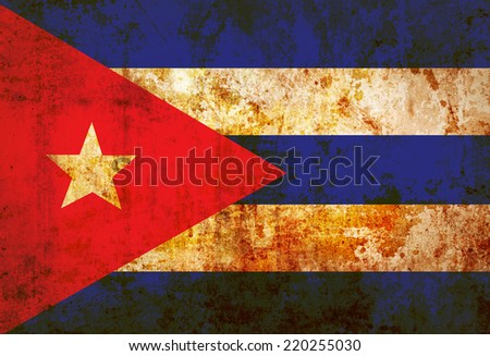 Cuba Flag on vintage paper - stock photo