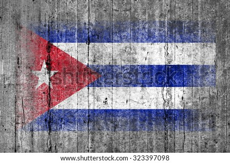 Cuba flag painted on background texture gray concrete - stock photo