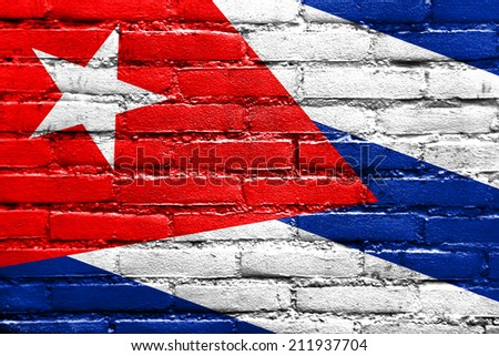 Cuba Flag painted on brick wall - stock photo