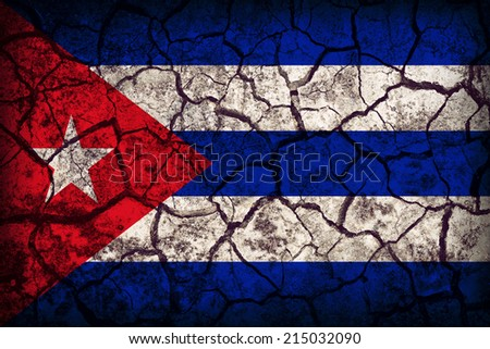 Cuba flag pattern on the crack soil texture ,retro vintage style - stock photo