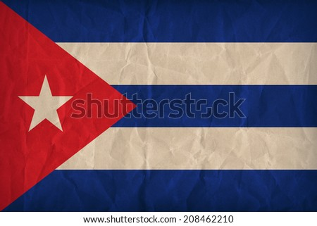 Cuba flag pattern on the paper texture ,retro vintage style - stock photo