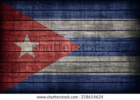 Cuba flag pattern on wooden board texture ,retro vintage style - stock photo