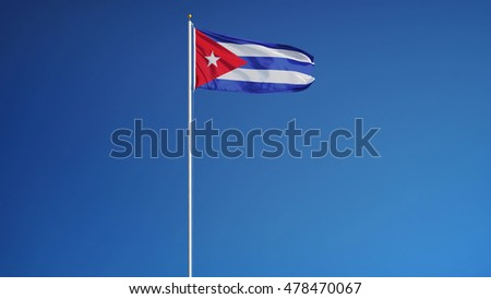 Cuba flag waving against clean blue sky, long shot, isolated with clipping path mask alpha channel transparency