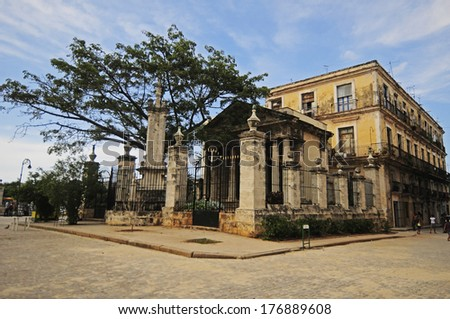 CUBA, HAVANA - JUNE 25, 2013: El Templete in Old Havana. This is a neoclassic building and the place where the foundation of the town of San Cristobal de la Habana was celebrated in 1519 - stock photo