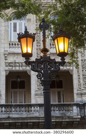 Cuba, Havana, Street lamp - stock photo