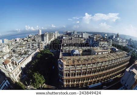 CUBA, Havana, view of the city - FILM SCAN - stock photo