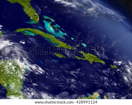 Cuba, Jamaica, Haiti and Dominican Republic with surrounding region as seen from Earth's orbit in space. 3D illustration with detailed planet surface. Elements of this image furnished by NASA. - stock photo
