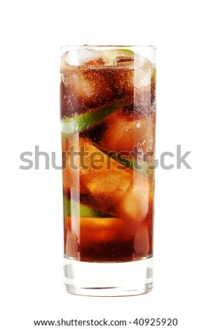 Cuba libre alcohol cocktail isolated on white.  Ingredients: 1 oz  white on black rum, 2 oz cola, 1 fresh lime and ice - stock photo