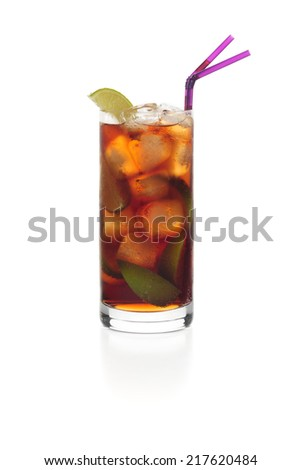 Cuba libre cocktail isolated on white.