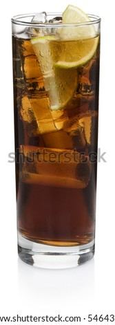 Cuba Libre Cocktail - isolated on white - stock photo