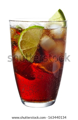 Cuba Libre cocktail with lime isolated on white background - stock photo