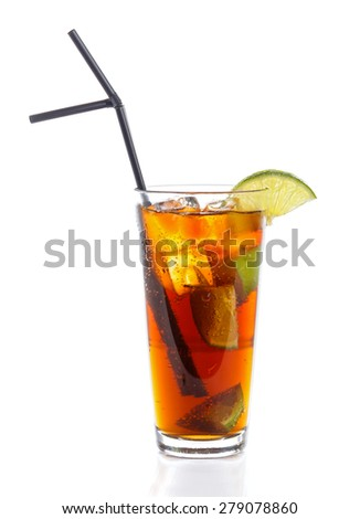 Cuba libre cocktail with rum and cola. - stock photo
