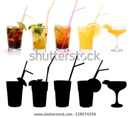 Cuba Libre, Mojito, Long Island Tea, Baccardi Orange, Margarita cocktails and their transparency mask - stock photo