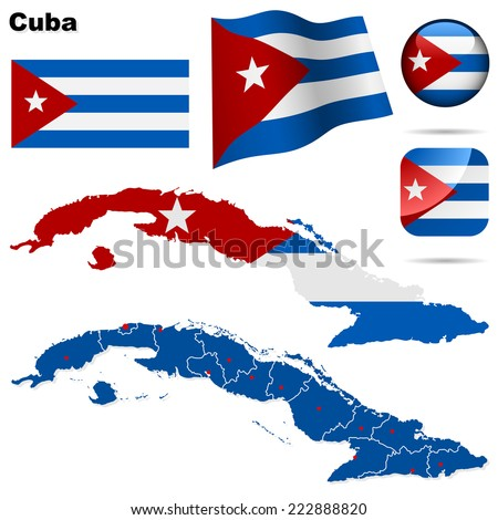 Cuba set. Detailed country shape with region borders, flags and icons isolated on white background. - stock photo