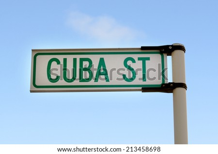 Cuba Street sign in Wellington, New Zealand.