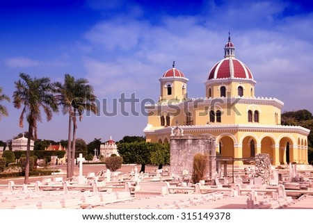 Cuba - the main cemetery of Havana. Necropolis Cristobal Colon. Filtered style colors. - stock photo