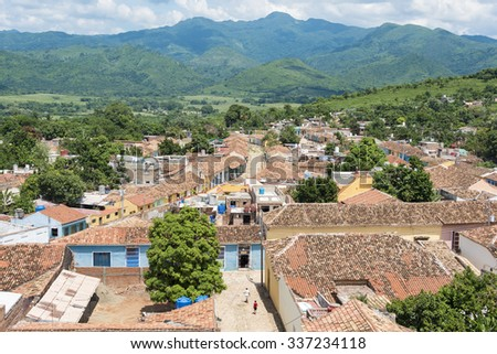 Cuba tourism: Trinidad views from the Convent of Saint Assisi tower or Church in Main Plaza which currently houses the Museum of Fight Against Bandits.  - stock photo