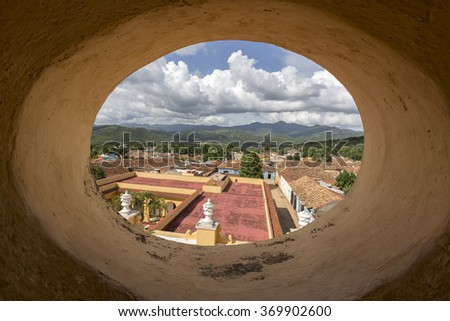 Cuba, Trinidad, Roof tops - stock photo